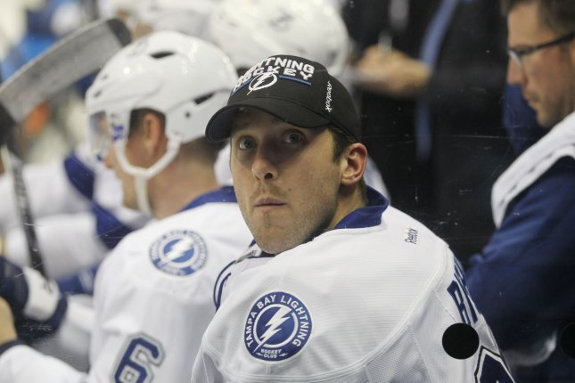 Tampa Bay Lightning goaltender Ben Bishop scans the crowds from the bench during the first period against the St. Louis Blues at the Scottrade Center in St. Louis on December 1, 2016. Photo by Bill Greenblatt/UPI