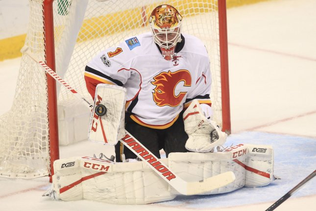 Los Angeles put four past Flames' goaltender Brian Elliott as the Kings topped Calgary 4-1 on Wednesday night at the Scotiabank Saddledome. File Photo by Bill Greenblatt/UPI