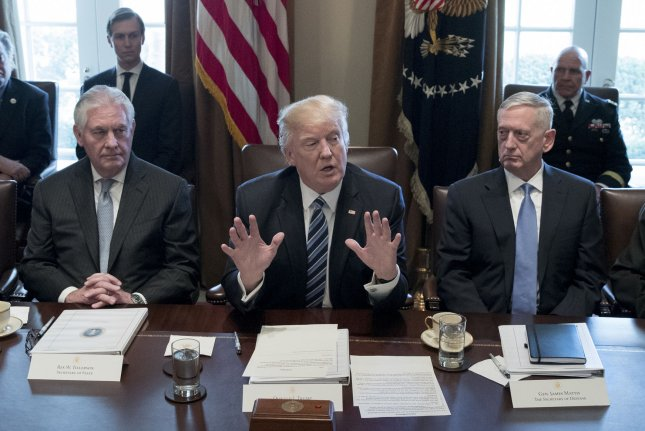 Secretary of State Rex Tillerson (L) and Secretary of Defense James Mattis (R) on Wednesday will meet with the Senate Foreign Relations Committee to discuss authorization for the war against the Islamic State. File Photo by Michael Reynolds/Pool/UPI
