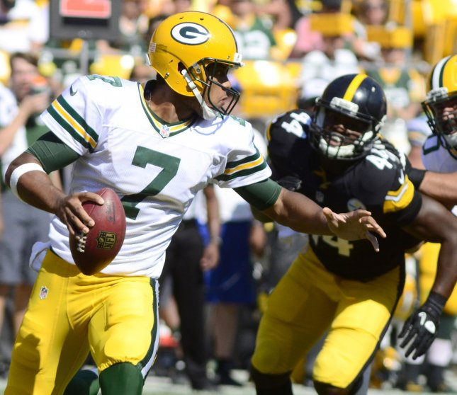 Brett Hundley led the undermanned Green Bay Packers to a preseason win over the Los Angeles Rams on Thursday. Photo by Archie Carpenter/UPI