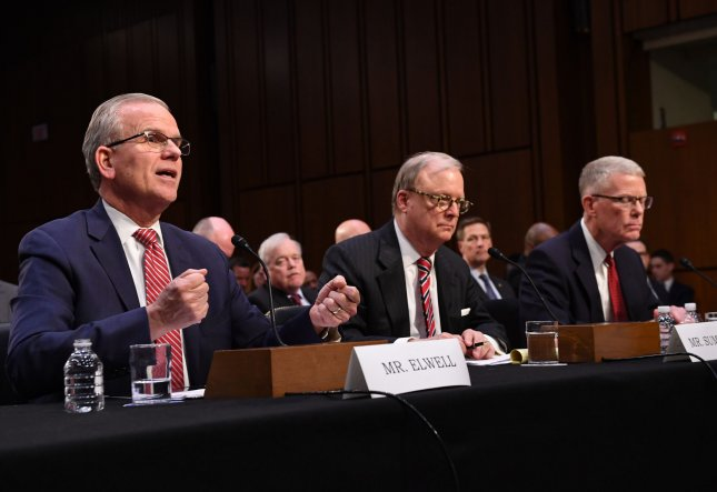 Daniel Elwell (L), acting administrator of the Federal Aviation Administration; Robert Sumwalt, chairman of the National Transportation Safety Board (C); and Calvin Scovel, inspector general of the Transportation Department, testify during a Senate Commerce, Science and Transportation Subcommittee hearing on the state of airline safety in the wake of the two Boeing 737 Max crashes. Photo by Kevin Dietsch/UPI