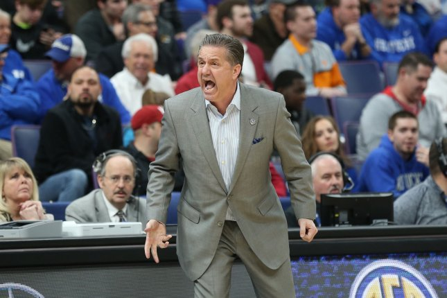 Coach John Calipari and Kentucky are now 2-1 on the season after dropping a game to unranked Evansville Tuesday in Lexington, Ky. File Photo by BIll Greenblatt/UPI