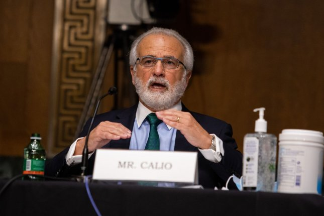 Nicholas Calio president and CEO of Airlines for America, testifies during his opening statement, on Capitol Hill, in Washington D.C., Wednesday, May 6, 2020, before a Senate Commerce, Science and Transportation Committee, on the state of the aviation industry and the impact of the Coronavirus pandemic. Pool Photo by Graeme Jennings/UPI