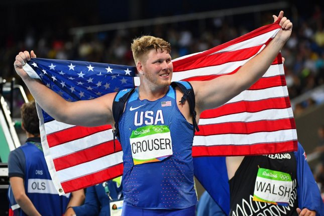 Ryan Crouser of the United States, shown Aug. 18, 2016, topped the men's world record with his throw of 76 feet, 8 1/4 inches. File Photo by Kevin Dietsch/UPI