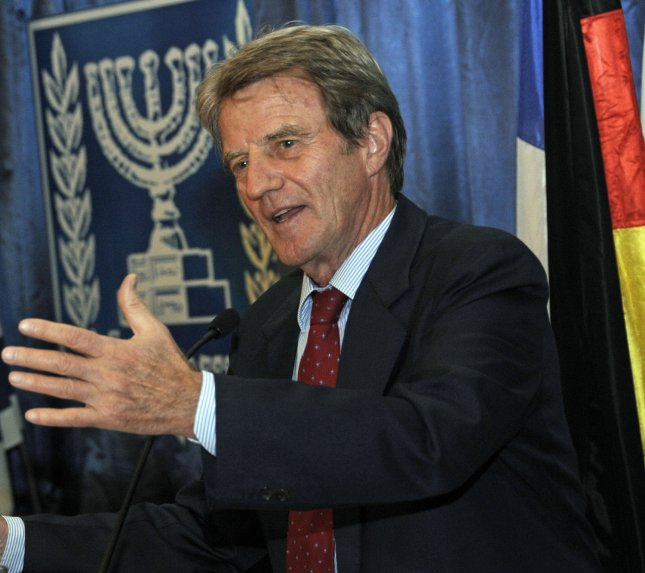 French Foreign Minister Bernard Kouchner addresses the Israeli Foreign Ministry's Conference for Policy and Strategy at the Israeli Foreign Ministry in Jerusalem, October 5, 2008. Foreign Minister Tzipi Livni said that she will continue the peace negotiations with the Palestinians as the new leader of the Kadima Party. (UPI Photo/Debbie Hill)