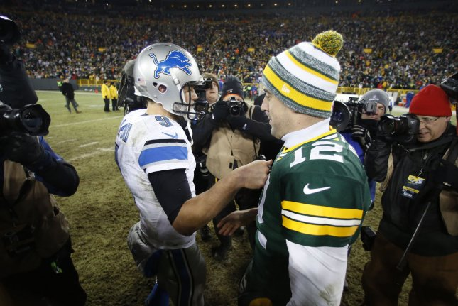 The Green Bay Packers' Aaron Rodgers, right, and the Detroit Lions' Matthew Stafford will battle in a key Week 17 NFL game which will decide the NFC North division winner and determine the playoff fate of both teams. File photo by Jeffrey Phelps/UPI