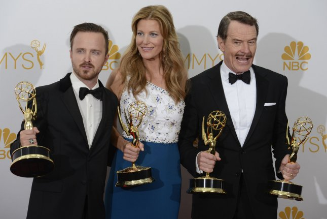 Former Breaking Bad stars, left to right, Aaron Paul, Anna Gunn and Bryan Cranston. Series creator Vince Gilligan is working on a film that ties into the series. File Photo by Phil McCarten/UPI