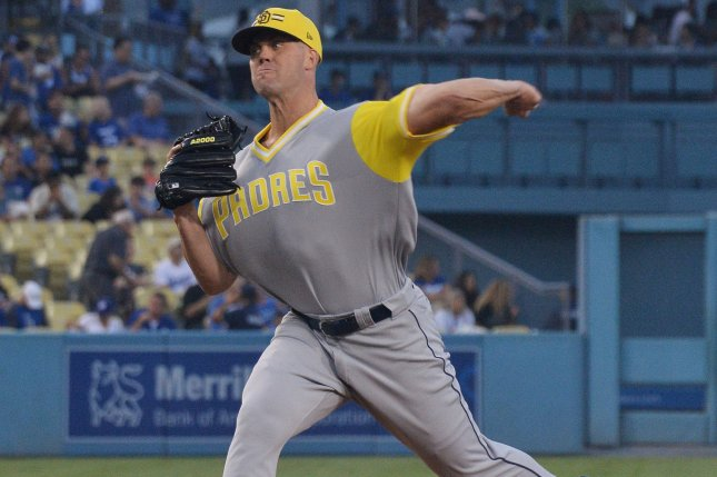San Diego Padres starting pitcher Clayton Richard winds up to deliver in the third inning against the Los Angeles Dodgers on August 24 at Dodger Stadium in Los Angeles. File Photo by Jim Ruymen/UPI