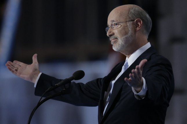 Pennsylvania Gov. Tom Wolf said they will appeal the court's decision and seek a stay against Monday's ruling that the state's coronavirus restrictions violated the Constitution. Photo by Ray Stubblebine/UPI