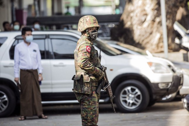Soldiers stand guard in Yangon, Myanmar, on Tuesday, one day after a forced government takeover by Myanmar's military detained several top government officials, including civilian leader Aung San Suu Kyi. Photo by Xiao Long/UPI