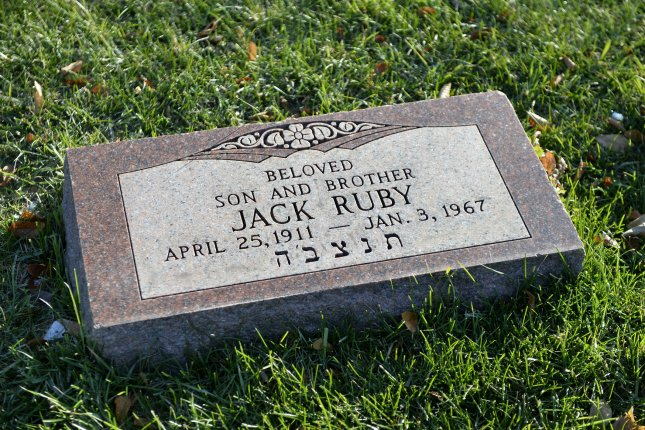 Jack Ruby's gravestone rests in Westlawn Cemetery in Norridge, Illinois on November 14, 2013. A live television audience watched as Ruby killed Lee Harvey Oswald, accused assassin of President John F. Kennedy, on November 24, 1963 in the basement garage of a Dallas police station during a prisoner transfer, two days after the assassination. November 22, 2013 marks the 50th anniversary of John F. Kennedy's assassination in 1963. UPI/Brian Kersey