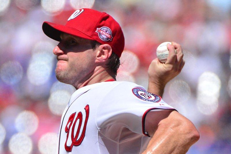 Washington Nationals starting pitcher Max Scherzer (31). Photo by Kevin Dietsch/UPI