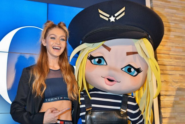 Gigi Hadid launches her Tommy x Gigi collection in Tokyo, Japan, on Tuesday. Photo by Keizo Mori/UPI
