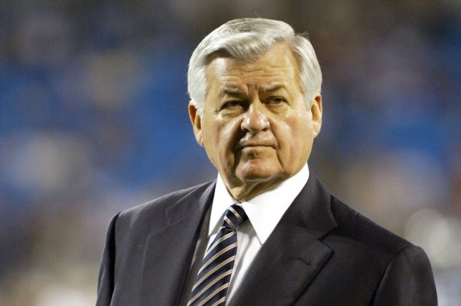 Carolina Panthers owner Jerry Richardson walks on the football field prior to his team's game against the Green Bay Packers at Bank of America Stadium in Charlotte, N.C. File photo by Nell Redmond/UPI