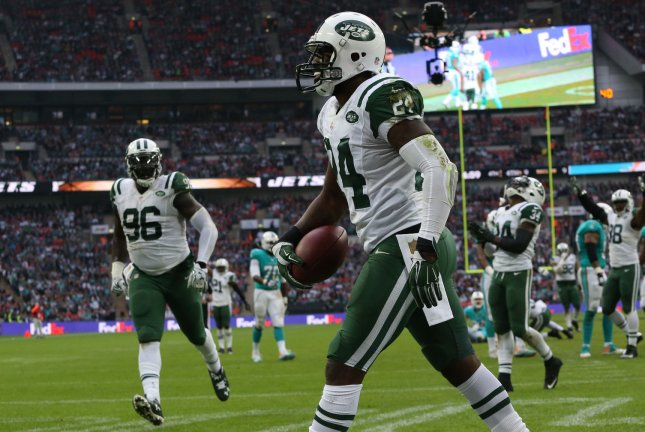 Former New York Jets and current Kansas City Chiefs cornerback Darrelle Revis celebrates an interception in the International NFL series match against the Miami Dolphins at Wembley Stadium in London on October 4, 2015. File photo by Hugo Philpott/UPI