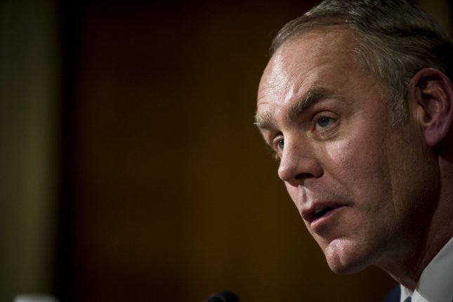 U.S. Interior Secretary Ryan Zinke testifies before the Senate Committee on Energy and Natural Resources on a budget request for $11.8 billion. About $800 million is targeted for energy-related programs. File photo by Pete Marovich/UPI