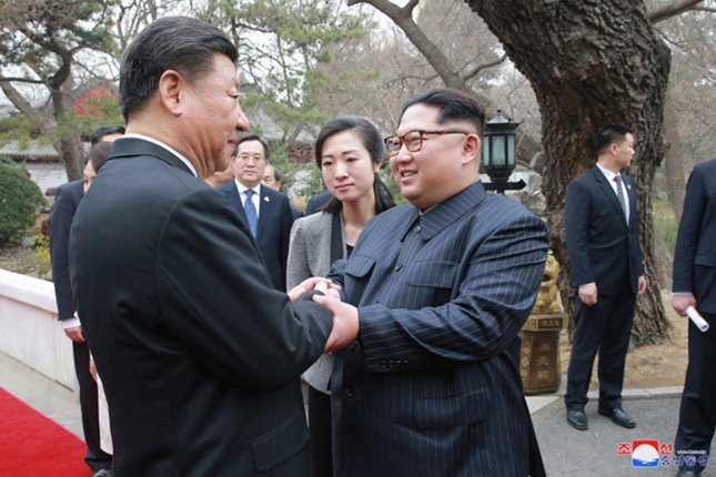 This image released on Wednesday by the North Korean Official News Service (KCNA), shows North Korean leader Kim Jong Un during a visit to Beijing, China, where he met with Chinese President Xi Jinping. Photo by KCNA/UPI