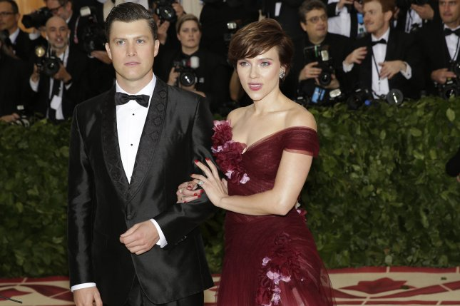 Scarlett Johansson (R) and Colin Jost attend the Costume Institute Benefit at the Metropolitan Museum of Art on Monday. Photo by John Angelillo/UPI