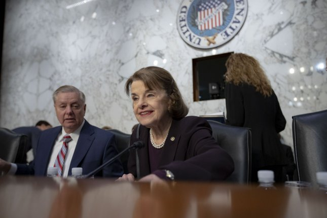 Sens. Dianne Feinstein, D-Calif.,, and Lindsay Graham, R-S.C., question experts during the confirmation hearing of attorney general nominee William Barr. Photo by Alex Edelman/UPI