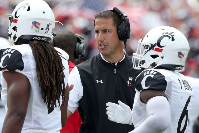 Coach Luke Fickell and the Cincinnati Bearcats aren't scheduled to play until Oct. 24 after their game against Tulsa -- planned for Saturday -- was postponed due to positive COVID-19 tests. Files Photo by Aaron Josefczyk/UPI