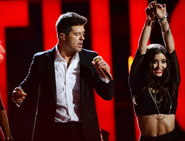 Robin Thicke performs during BET Awards 13 at the Nokia Theatre in Los Angeles on June 30, 2013. UPI/Jim Ruymen