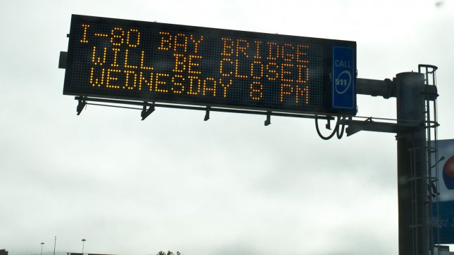 A traffic sign warns of the closing of the San Francisco-Oakland Bay Bridge along I-80 in San Francisco on August 27, 2013. The new $6.4 billion eastern span is scheduled to open September 3 after the bridge closes at 8 P.M. on Wednesday August 28. The old portion will be demolished. UPI/Terry Schmitt