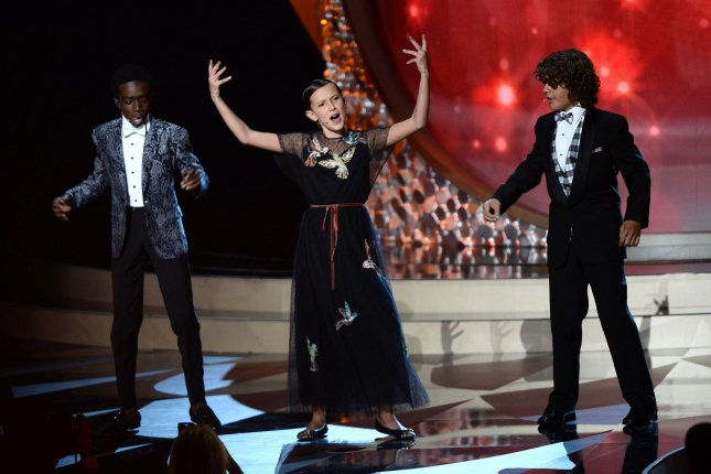 Caleb McLaughlin, Millie Bobby Brown and Gaten Matarazzo (L-R) perform Uptown Funk at the Primetime Emmy Awards on Sunday. Photo by Jim Ruymen/UPI
