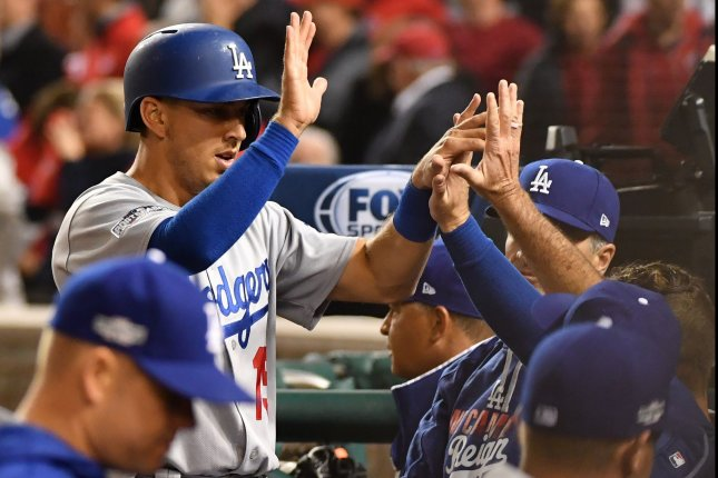 Austin Barnes and the Los Angeles Dodgers rocked the San Diego Padres on Friday. Photo by Kevin Dietsch/UPI