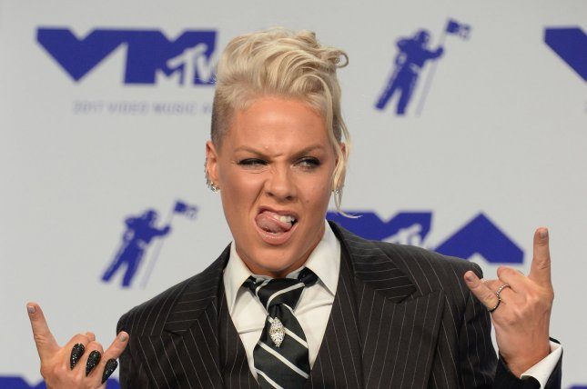 Pink arrives for the 34th annual MTV Video Music Awards at The Forum in Inglewood, California on August 27. The singer turns 38 on September 8. Photo by Jim Ruymen/UPI