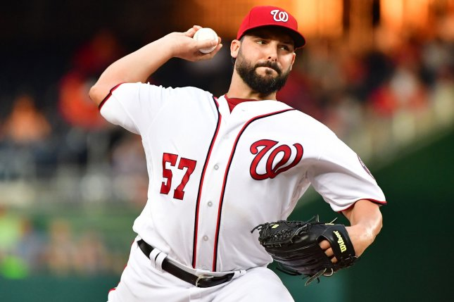 Washington Nationals starting pitcher Tanner Roark (57). File photo by Kevin Dietsch/UPI