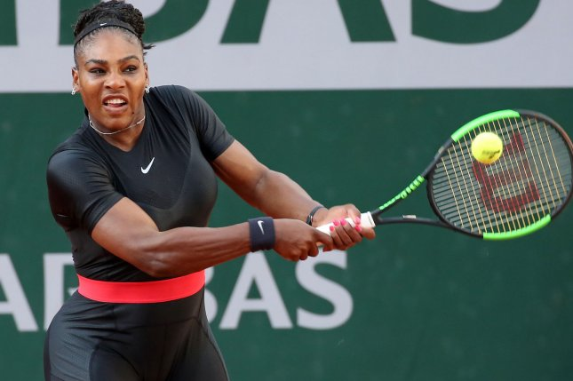 Serena Williams hits a shot during her French Open women's third round match against Julia Goerges of Germany on June 2 at Roland Garros in Paris. Photo by David Silpa/UPI