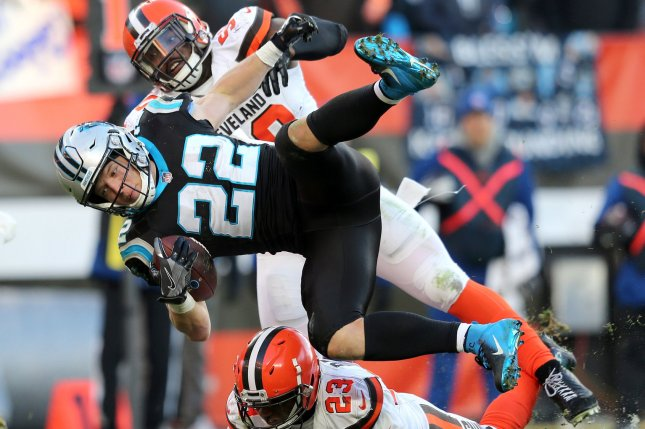 Carolina Panthers running back Chrisitan McCaffrey is tackled during a game against the Cleveland Browns at First Energy Stadium on December 9, 2018. Photo by Aaron Josefczyk/UPI