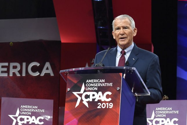 The NRA said the advertising agency withheld a contract with NRA President Oliver North, pictured February 28 at the Conservative Political Action Conference. File Photo by Mike Theiler/UPI