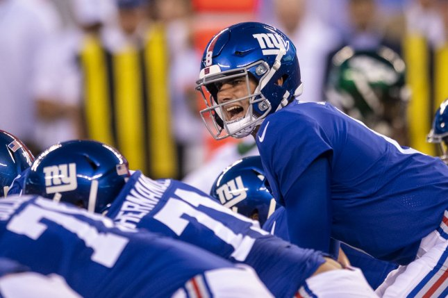 New York Giants quarterback Daniel Jones (8) threw two touchdown passes and rushed for two scores in a win against the Tampa Bay Buccaneers Sunday in Tampa, Fla. Photo by Corey Sipkin/UPI