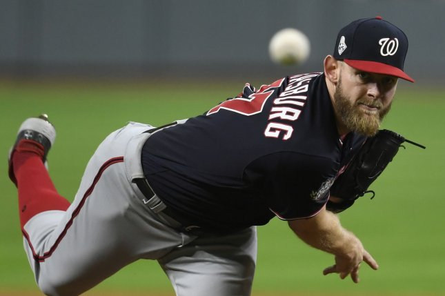 Washington Nationals starting pitcher Stephen Strasburg (pictured) agreed to a record-setting deal Monday. It passed the previous high for a pitcher's contract, set by David Price when he signed with the Boston Red Sox. File Photo by Trask Smith/UPI