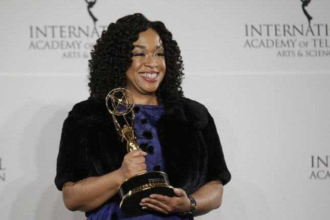 Shonda Rhimes arrives in the press room with her award at the 44th International Emmy Awards at the New York Hilton in New York City on November 21, 2016. The television producer turns 50 on January 13. File Photo by John Angelillo/UPI