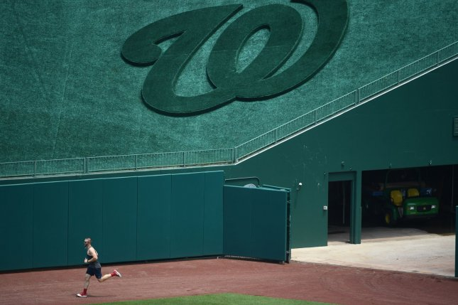 Washington Nationals pitcher Stephen Strasburg (pictured) and Max Scherzer are both healthy as they prepare to start the 2020 season on July 23 in Washington, D.C. Photo by Kevin Dietsch/UPI