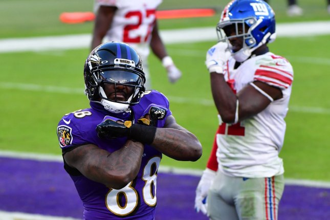Baltimore Ravens wide receiver Dez Bryant celebrates after receiving an 8-yard touchdown pass against the New York Giants during the second half of a game at M&T Bank Stadium in Baltimore, Md., on December 27, 2020. File Photo by David Tulis/UPI