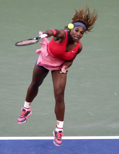Serena Williams, shown in the finals of the 2013 U.S. Open, had a win Sunday in the first round of the China Open. UPI/John Angelillo