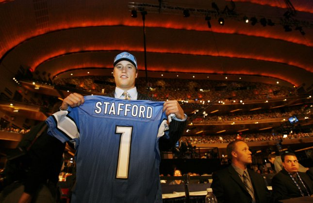 Matthew Stafford holds up his Detroit Lions jersey on April 25, 2009. (UPI Photo/John Angelillo)