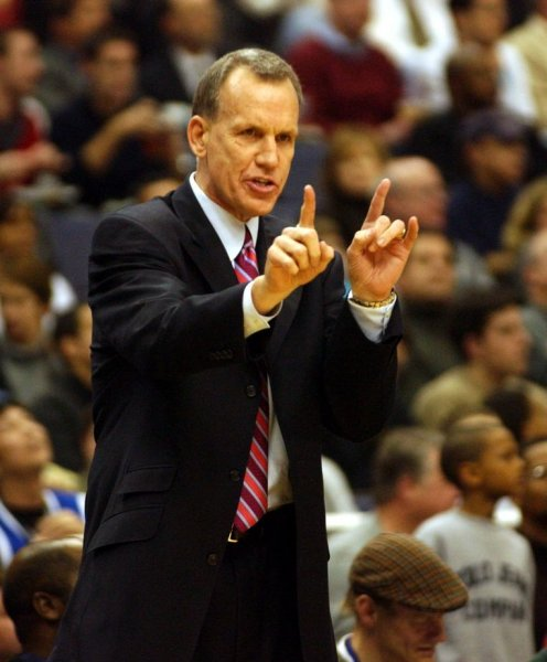 Doug Collins, shown while coaching the Washington Wizards Feb. 27, 2003. (UPI/Roger L. Wollenberg).