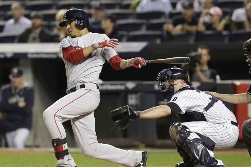 Boston Red Sox's Mookie Betts. Photo by John Angelillo/UPI