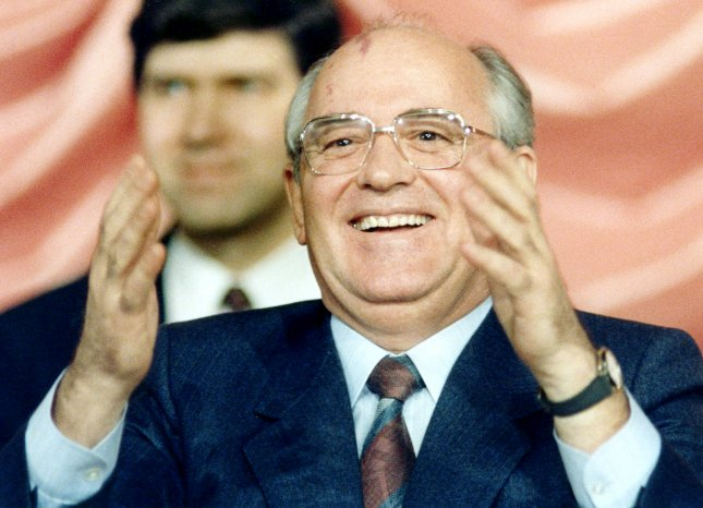 Soviet leader Mikhail Gorbachev reacts during his news conference at the Soviet compound in Washington, D.C. on December 10, 1987. Photo by Joe Marquette/UPI