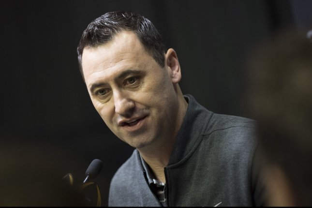 Alabama Crimson Tide Offensive Steve Sarkisian talks to reporters during media day prior to the NCAA Football National Championship, in Tampa, Florida on January 7, 2017. Alabama will take on the Clemson Tigers in the College Football National Championship on Monday. Photo by Kevin Dietsch/UPI