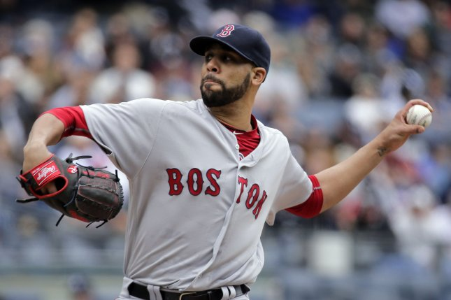 Boston Red Sox starting pitcher David Price throws a pitch to the New York Yankees in the first inning of their American League MLB game at Yankee Stadium in New York City, May 7, 2016. Photo by Ray Stubblebine/UPI