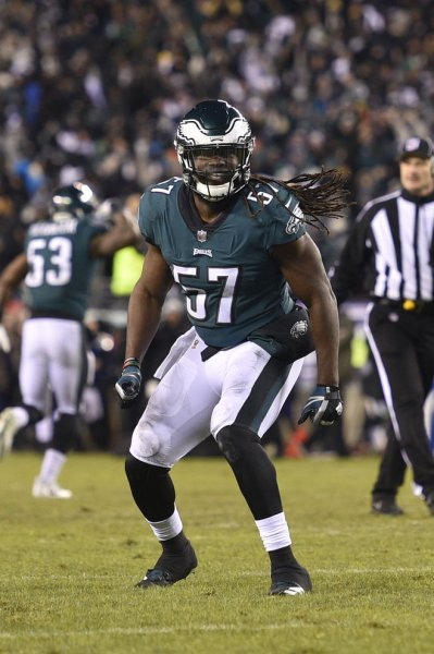 Philadelphia Eagles linebacker Dannell Ellerbe reacts during the fourth quarter of an NFC divisional playoff game against the Atlanta Falcons on Jan. 13. Photo by Derik Hamilton/UPI