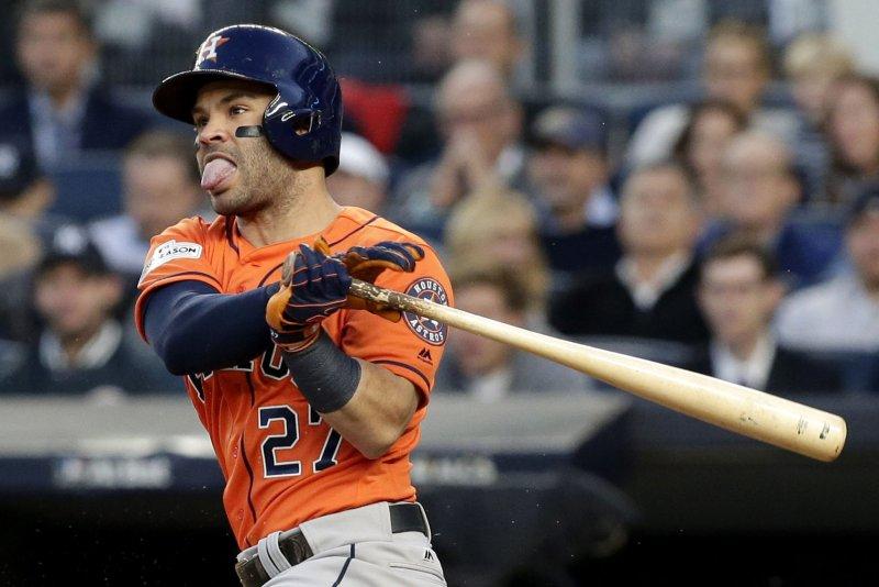 Houston Astros shortstop Jose Altuve. File photo by John Angelillo/UPI