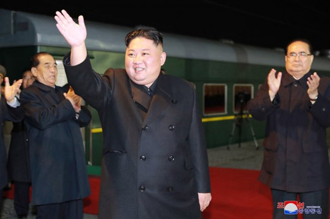 North Korea fired short-range projectiles off its eastern coast Saturday. The firings are North Korean leader Kim Jong Un latest signal of frustration with stalled nuclear talks with the United States. He is pictured after last month's summit with Russian President Vladimir Putin about regional stability. File Photo by KCNA/UPI