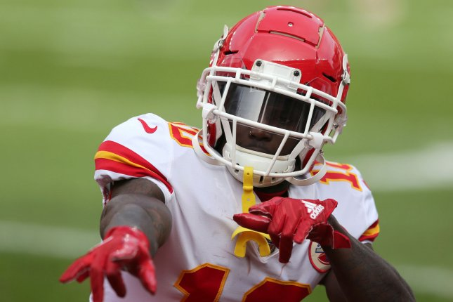 Kansas City Chiefs wide receiver Tyreek Hill has been banned for off-season team activities after being accused of child abuse. He has not been charged with a crime. File Photo by Aaron Josefczyk/UPI