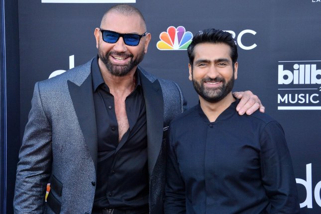 Dave Bautista (L) and Kumail Nanjiani are set to be presenters at the 2019 ESPY Awards along with Linda Cardellini and Christina Hendricks. File Photo by Jim Ruymen/UPI